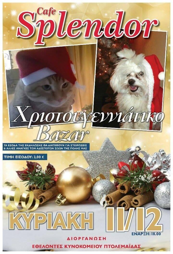 Χριστουγεννιάτικο Bazaar από τους εθελοντές του κυνοκομείου Πτολεμαΐδας, την Κυριακή 11 Δεκεμβρίου