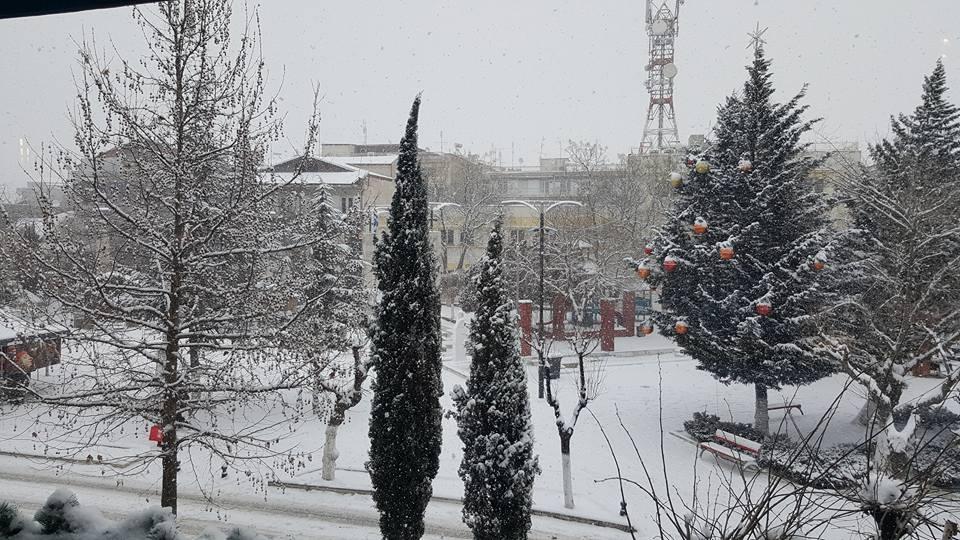Ώρα 11:00: Κατάλευκη η κεντρική Πλατεία Πτολεμαΐδας, με -10° & πυκνή χιονόπτωση (Φωτογραφίες)