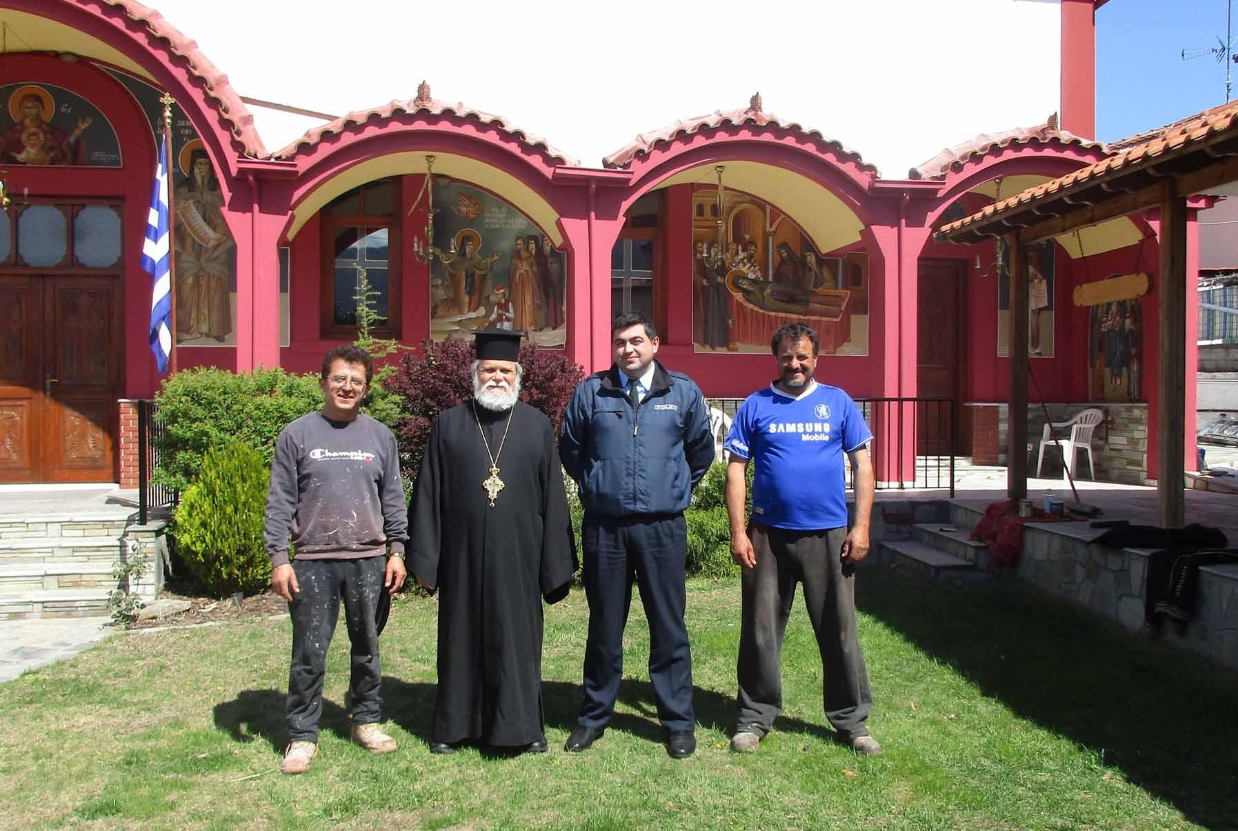 Φιλική επίσκεψη του Τοπικού Αστυνόμου Βελβεντού  στον Ιερό Ναό του Αγίου Διονυσίου Βελβεντού.  (του παπαδάσκαλου Κωνσταντίνου Ι. Κώστα)