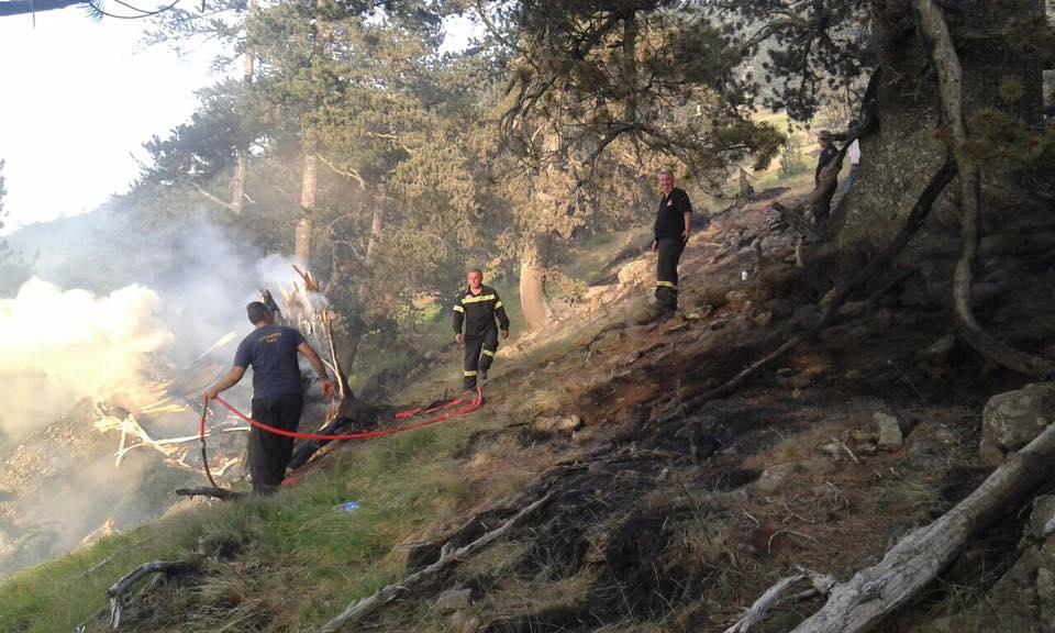 """Στην υπό εξέλιξη πυρκαγιά στην κορυφή """"Γομάρα"""" Σαμαρίνας βρέθηκε ο δήμαρχος Γρεβενών Γιώργος Δασταμάνης"""