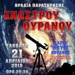 Ο Αστρονομικός Σύλλογος Δυτικής Μακεδονίας διοργανώνει βραδιά παρατήρησης έναστρου ουρανού το Σάββατο 21 Απριλίου στο «Κουρί» Κοζάνης