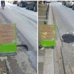 """Μετά την ανάρτηση του kozan.gr και τη φωτογραφία που μας έστειλε αναγνώστης, η λακκούβα """"πηγάδι"""", σε κεντρικό δρόμο της Πτολεμαΐδας, """"έκλεισε"""""""