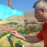 Ο Σιατιστινός ζωγράφος Κώστας Ντιός ζωγραφίζει τη Σιάτιστα (Φωτογραφία)