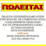 Πωλείται επιχείρηση – ουζερί, σε τιμή ευκαιρίας στην Κοζάνη, λόγω αναχώρησης στο εξωτερικό