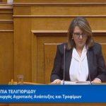 Ομιλία και δευτερολογία της Ο. Τελιγιορίδου Υφυπ. ΥΠΑΑΤ στη Βουλή σε επίκαιρη επερώτηση για αγροτικά θέματα (Βίντεο)