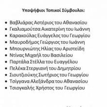 Υποψήφιοι Τοπικοί Σύμβουλοι του Συνδυασμού «Ενότητα για την Αιανή»