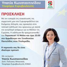 Πτολεμαΐδα: Εκδήλωση παρουσίασης ανακοίνωσης υποψηφιότητας Ευρωβουλευτή Υπατίας Κωνσταντινίδου, την Παρασκευή 10 Μαΐου 2019, ώρα 8μ.μ., αμφιθέατρο ξενοδοχείου Παντελίδη
