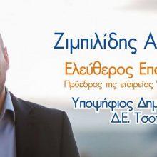 Υποψήφιος με το συνδυασμό Δύναμη Επανεκκίνησης και επικεφαλής υποψήφιο Δήμαρχο τον Χρήστο Ζευκλή, o Ζιμπιλίδης Αλέξανδρος του Ελευθερίου