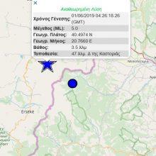 kozan.gr: Σεισμική δόνηση μεγέθους 5 ρίχτερ στην Αλβανία 47 Χλμ. δυτικά της Καστοριάς  – Ιδιαίτερα αισθητή σε όλη την Περιφέρεια Δ. Μακεδονίας – Aκολούθησαν 4 μετασεισμοί, οι δύο μεγέθους 4,7