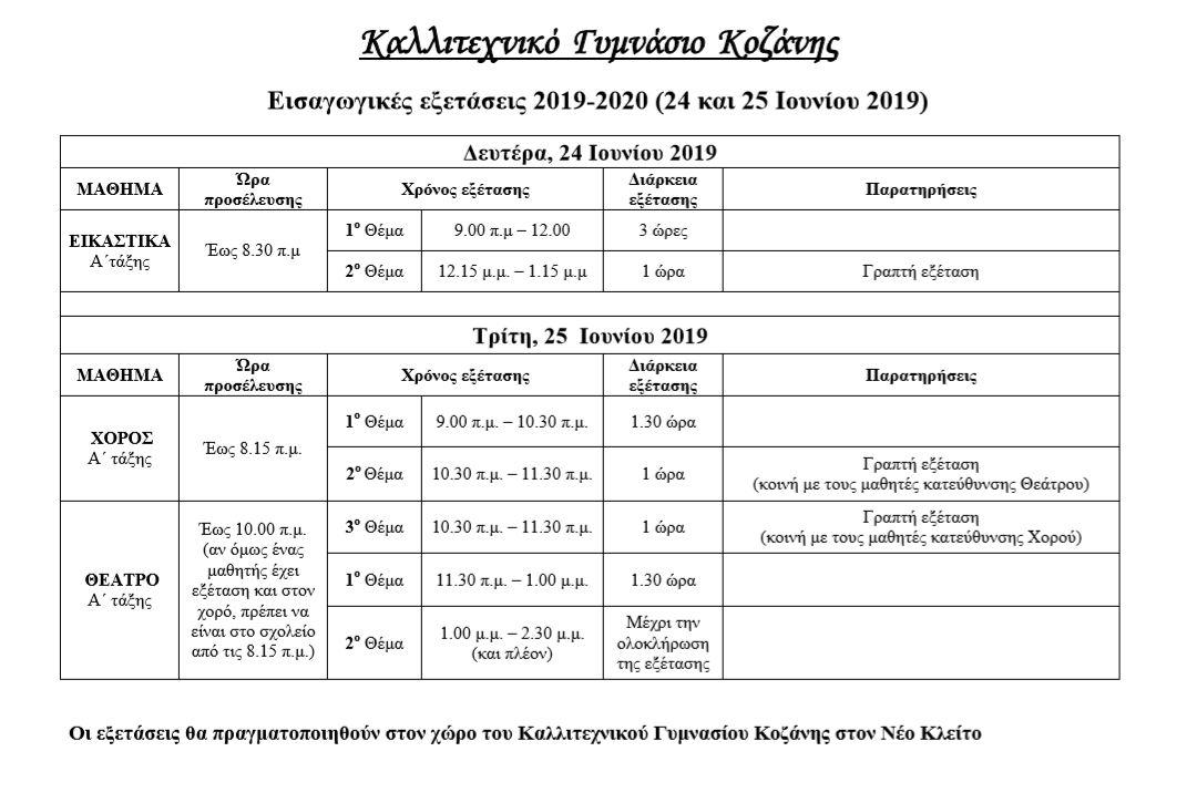 Πρόγραμμα εισαγωγικών εξετάσεων Α' τάξης του Καλλιτεχνικού Γυμνασίου Κοζάνης σχ. έτους 2019 – 2020