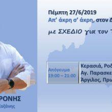Πρόγραμμα επισκέψεων του Χρόνη Ακριτίδη στον Δήμο Κοζάνης την Πέμπτη 27 Ιουνίου