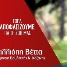 Ανοιχτή πρόσκληση της υποψηφίας βουλευτή του ΣΥΡΙΖΑ Κοζάνης Καλλιόπης Βέττας, την Τετάρτη 3 Ιουλίου και ώρα 9 μ.μ. στο καφέ Άλσος στο πάρκο του Αγίου Δημητρίου στην Κοζάνη
