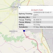 kozan.gr: Σεισμική δόνηση μεγέθους  3,1 Ρίχτερ, κοντά στην Ασβεστόπετρα Εορδαίας