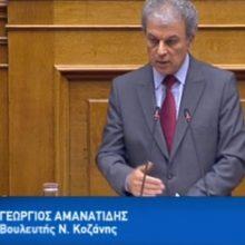 Ομιλία στην Ολομέλεια της Βουλής  του Βουλευτή Π.Ε. Κοζάνης, Γ. Αμανατίδη για το σ/ν του Υπουργείου Εσωτερικών με τίτλο «Στρατηγική αναπτυξιακή προοπτική των Οργανισμών Τοπικής Αυτοδιοίκησης, ρύθμιση ζητημάτων αρμοδιότητας Υπουργείου Εσωτερικών και άλλες διατάξεις»