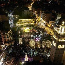 Oι εναέριες λήψεις, από τη γεμάτη κόσμο κεντρική πλατεία Κοζάνης, στη συναυλία των Γ. Λιανού και Γ. Βαρδή, το βράδυ της Πέμπτης 5 Δεκεμβρίου