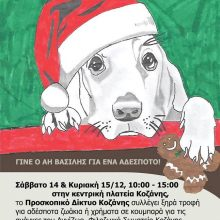 Γίνε ο Άη Βασίλης για ένα αδέσποτο, το Σάββατο 14 και την Κυριακή 15 Δεκεμβρίου στην κεντρική πλατεία Κοζάνης