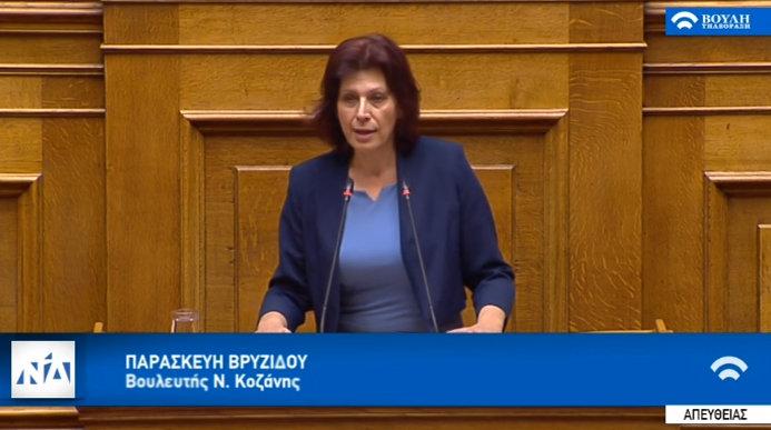 """Ομιλία της Παρασκευής Βρυζίδου Βουλευτή Ν. Κοζάνης στην Ολομέλεια της Βουλής των Ελλήνων για το Νομοσχέδιο: """"Ρυθμίσεις θεμάτων του Υπουργείου Εθνικής Άμυνας"""" στις 13/12/2019 (Bίντεο)"""