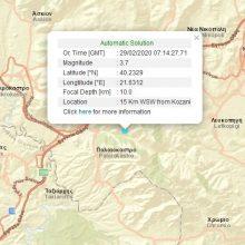 "kozan.gr: Κοζάνη: Σεισμική δόνηση μεγέθους 3.7 (3.6 η 2η εκτίμηση) – Σύμφωνα με τα πρώτα στοιχεία από το Γεωδυναμικό Ινστιτούτο Αθηνών το επίκεντρο εντοπίζεται σε περιοχή μεταξύ του ""τριγώνου"" Παλαιοκάστρου – Σιάτιστας – Μεταμόρφωσης, 15 Χλμ. ΔΝΔ της Κοζάνης"