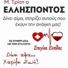 Σταγόνα Ελπίδας: Εθελοντική αιμοδοσία την Μ. Τρίτη, 14 Απριλίου, στον Ελλήσποντο