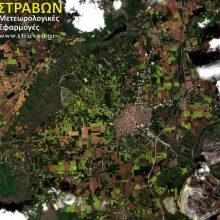 Η Πτολεμαιδα και τμήμα του κάμπου της Εορδαίας βαμμένος στα κιτρινοπράσινα – γνώριμα χρώματα – όπως αποτυπώθηκε σήμερα από τον φακό του δορυφόρου Sentinel 2