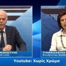"""Η βουλευτής Κοζάνης (Ν.Δ.) Παρασκευή Βρυζίδου σε μια συζήτηση για την υγειονομική κρίση, τα προβλήματα στην Π.Ε. Κοζάνης που θέλουν άμεση αντιμετώπιση, την επόμενη μέρα στην οικονομία, αν έκανε πίσω η κυβέρνηση στην """"Συμφωνία Πρεσπών"""" κ.α."""