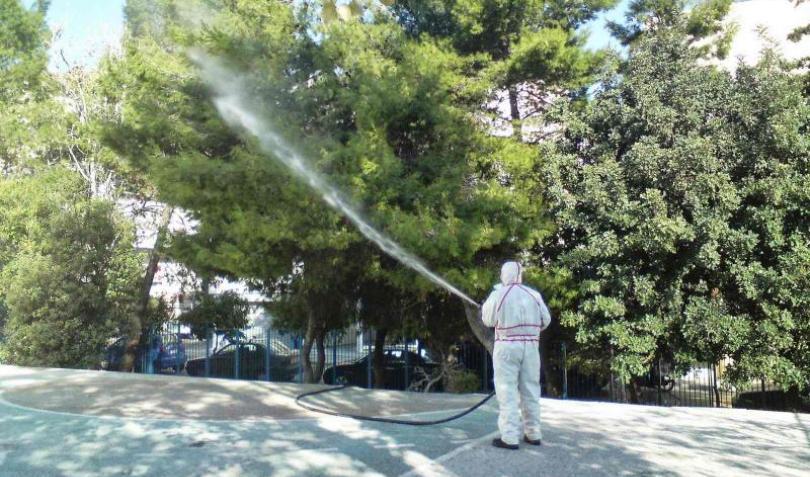 Εργασίες φυτοπροστασίας/ψεκασμοί σε δένδρα της πόλης της Κοζάνης στην περιοχή Πλατάνια το βράδυ της Δευτέρας 21/9