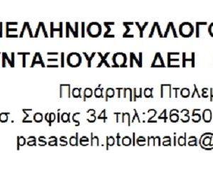 Ενημέρωση του Π.Α.Σ.Α./ΔΕΗ παράρτημα Πτολεμαϊδας  για τα αναδρομικά