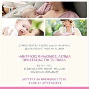 Εξ αποστάσεως σεμινάριο μητρικού θηλασμού από το Συμβουλευτικό Κέντρο Δήμου Φλώρινας, στο πλαίσιο της εορτασμού της Εβδομάδας Μητρικού Θηλασμού