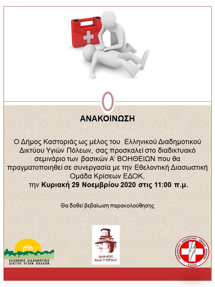Διαδικτυακό εκπαιδευτικό σεμινάριο Α΄ Βοηθειών από το Δήμο Καστοριάς