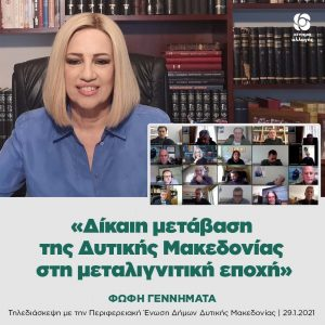 Τηλεδιάσκεψη της Προέδρου του Κινήματος Αλλαγής Φώφης Γεννηματά με την Περιφερειακή Ένωση Δήμων Δυτικής Μακεδονίας