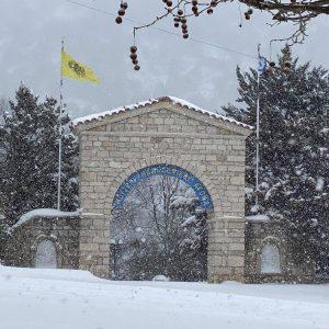 kozan.gr: Σημερινές φωτογραφίες από το χιονισμένο Μουσείο Μακεδονικού αγώνα στο Χρώμιο Κοζάνης και του δρόμου που οδηγεί σ' αυτό