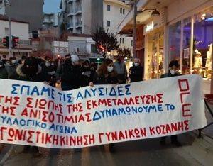 Συγκέντρωση και πορεία διοργάνωσε τη Δευτέρα 8 Μαρτίου η Αγωνιστική Κίνηση Γυναικών Κοζάνης, μέλος της Ομοσπονδίας Γυναικών Ελλάδας, τιμώντας αγωνιστικά την Παγκόσμια μέρα της Γυναίκας