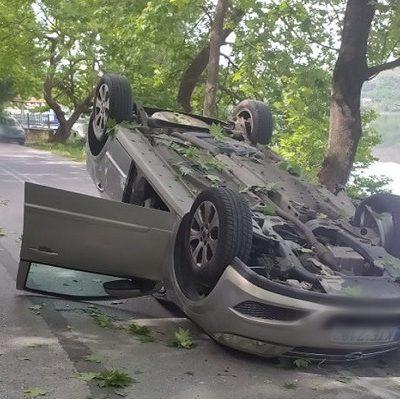 Τροχαίο στην Καστοριά με ανατροπή αυτοκινήτου (Φωτογραφίες)