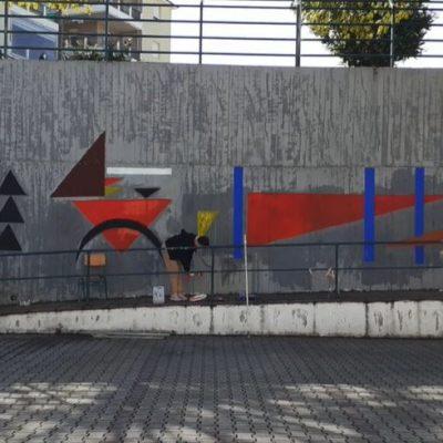 """kozan.gr: Εικαστική παρέμβαση, στο 4ο Γυμνάσιο Κοζάνης, εμπνευσμένη από το έργο """"Weiches Hart""""του Ρώσσου Καλλιτέχνη  Wassily Kandinsky (Βίντεο)"""