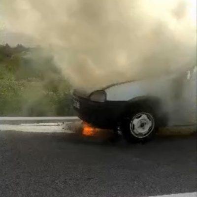 kozan.gr: Αυτοκίνητο, λίγο πιο έξω από τα Πετρανά Κοζάνης, στο ύψος των σχολών του ΟΑΕΔ, τυλίχτηκε στις φλόγες   (Βίντεο)