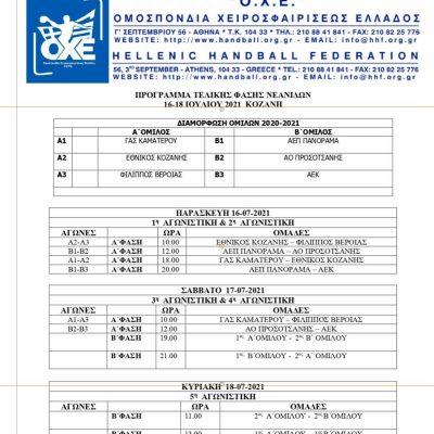 Koζάνη: Οι αγώνες της τελικής φάσης Νεανίδων Handball θα μεταδοθούν ζωντανά μέσω live streaming