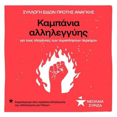 Νεολαία ΣΥΡΙΖΑ Εορδαίας & Κοζάνης: Συλλογή ειδών πρώτης ανάγκης για τους πυρόπληκτους συμπολίτες μας.