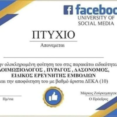 "kozan.gr: Το ελληνικό ""πτυχίο"" του facebook, εμπνεύσεως του Κοζανίτη Λ. Βωβού, έγινε viral"