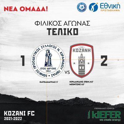 ΦΣ Κοζάνης: Φιλική νίκη εκτός έδρας με ανατροπή στην Πιερία με Εθνικό Ν. Κεραμιδίου