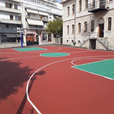 kozan.gr: Βαλταδώρειο Γυμνάσιο Κοζάνης: Τα όμορφα ακρυλικά δάπεδα μπάσκετ και βόλεϊ