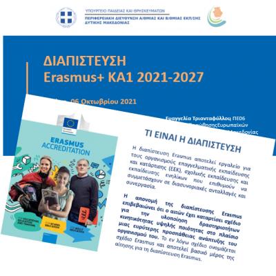 Περιφερειακή Διεύθυνση Εκπαίδευσης Δυτικής Μακεδονίας: Ενημερωτική συνάντηση με θέμα «Διαπίστευση Erasmus 2021-2027